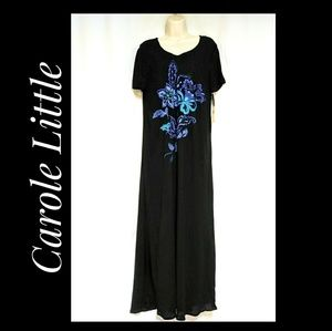 Carole Little Boho-Style Black Maxi-Dress Sze 12